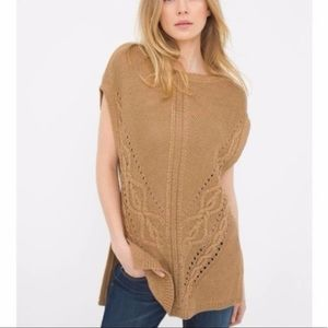 WHBM Camel Beige Cable Knit Poncho Sweater Top